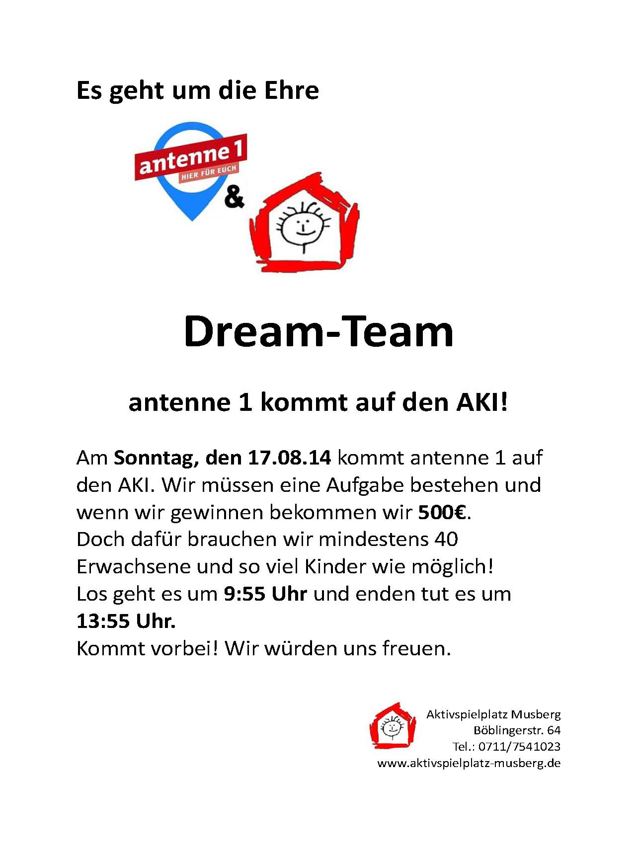 antenne1 Dream Team Plakat